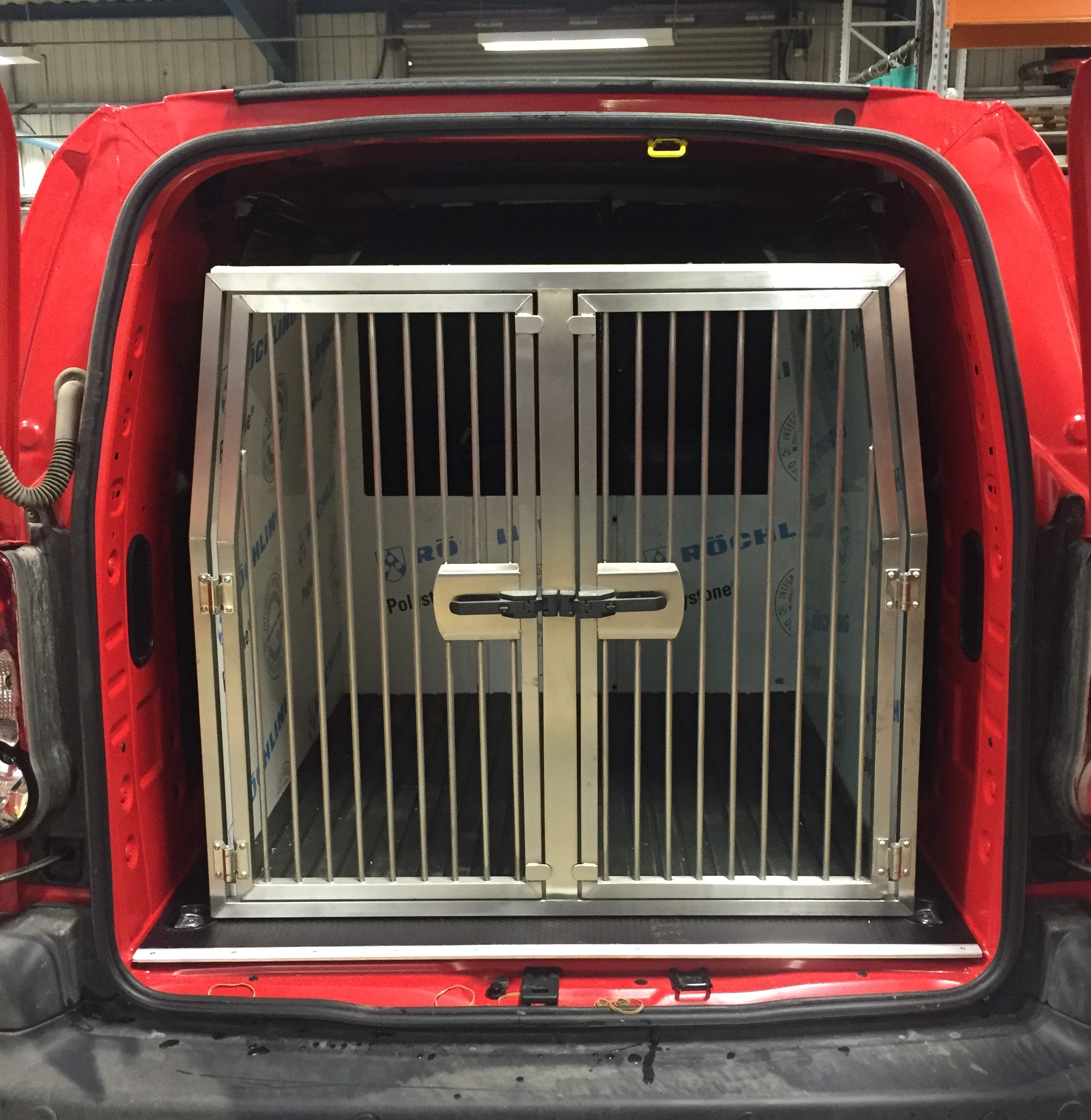 Two kennel removable dog pod in Peugeot Partner